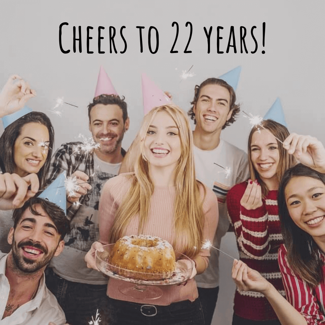 birthday captions - Cheers to 22 years!